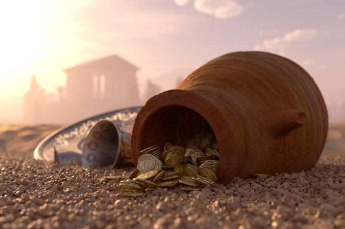hidden-mist-ancient-city-clay-pitcher-pebbles-sand-loose-gold-silver-coins-coins-money-a-silver-tray-bowl-blur-bokeh-wallpaper-2